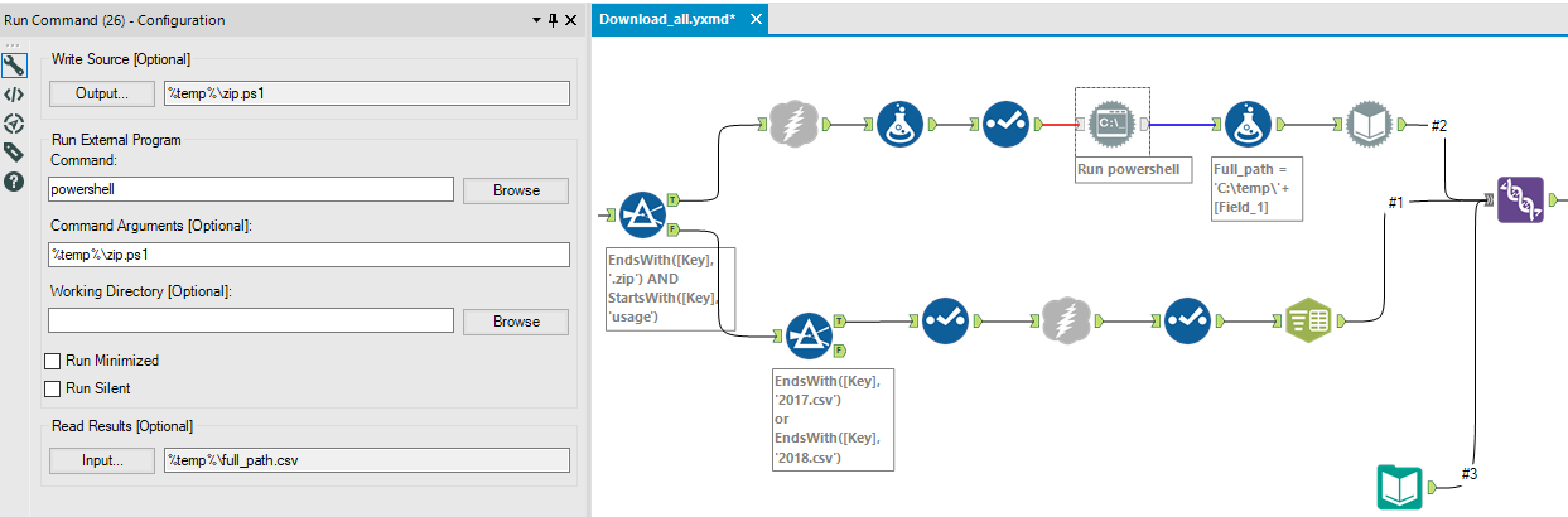 Configuration of a Run Command Tool in Alteryx to run a